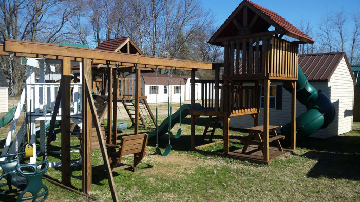 Play System swingset with playhouse sale