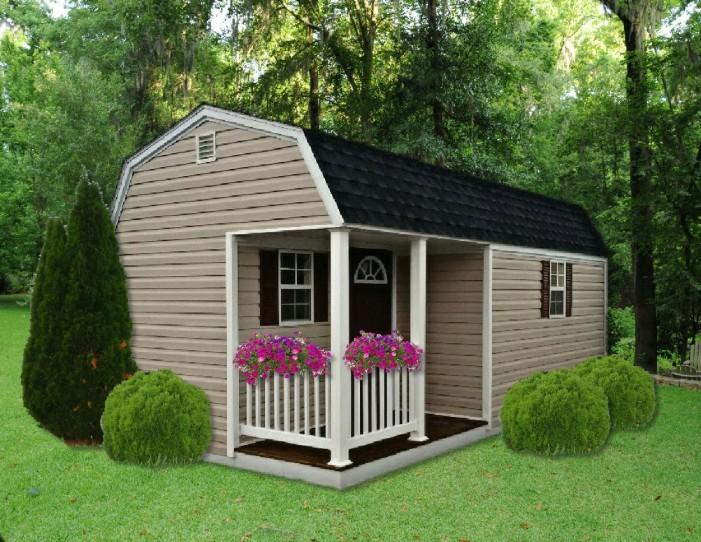10 x 16 Hi Barn Style with Half Porch Option