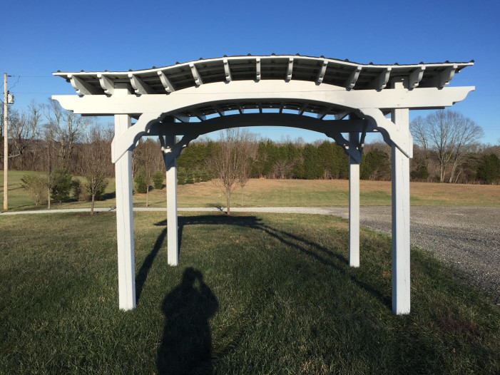 8x10 Painted Arch Pergola with Roof $1600