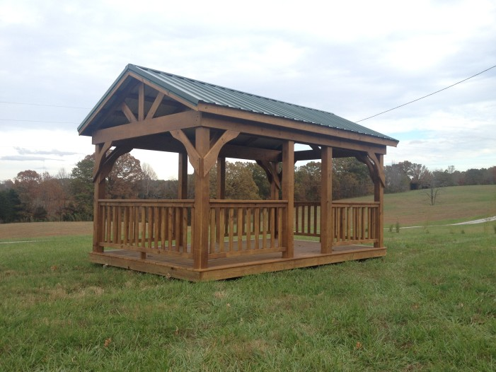 10x16 Pavilion with Floor and Railing