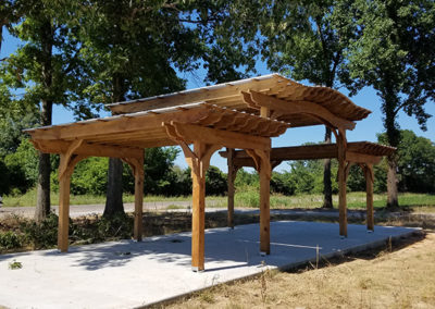 PT pergola pine split level with cb stain and roof