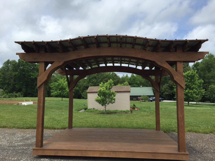 10 x 12 arch pergola with optional roof and floor
